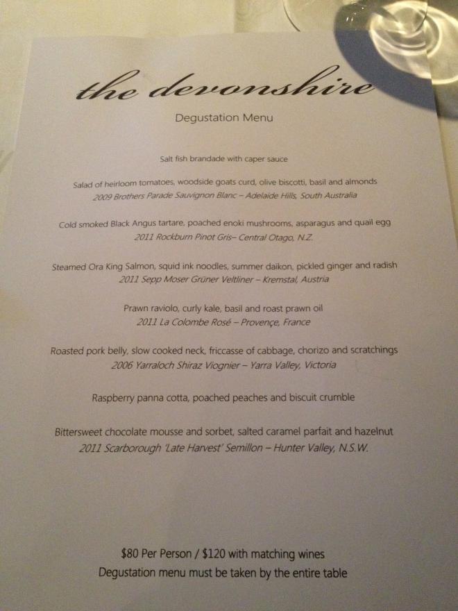 The Devonshire Menu